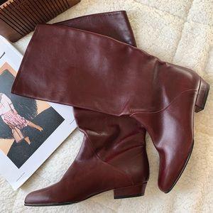 Bally Vintage Maroon Mid Calf Boots